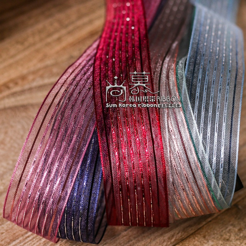 100yards 10 16 25 38mm sliver purl stripes mesh organza sheer ribbon for kids hair bow accessories bouquet flower packing bow in Ribbons from Home Garden