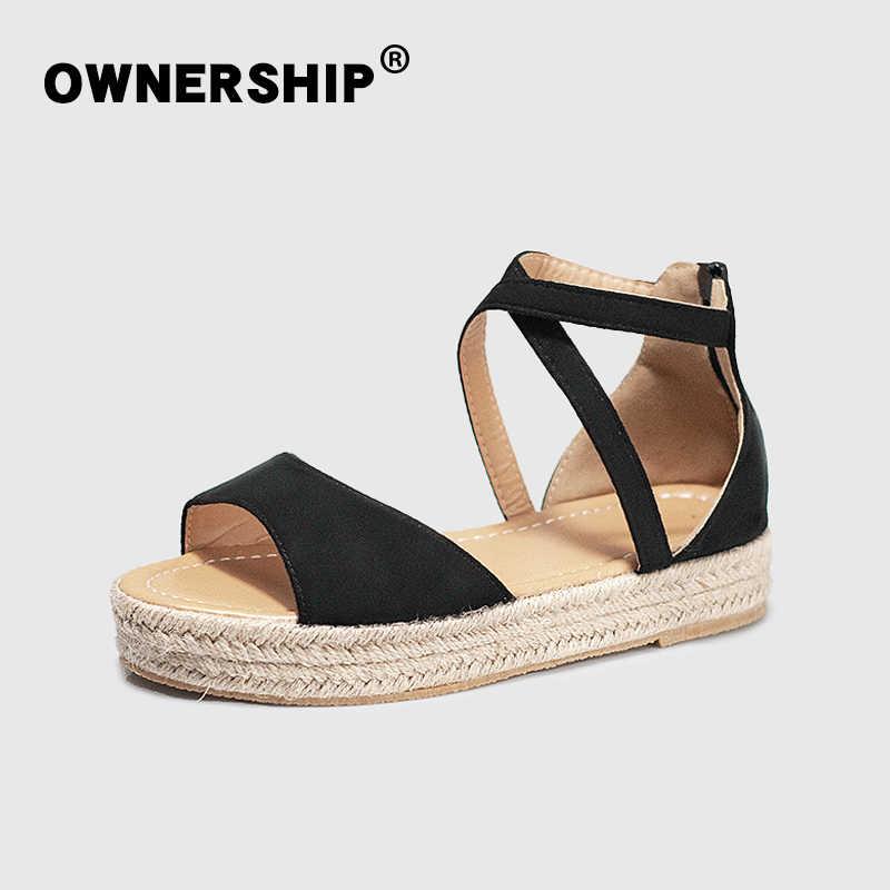 2020 kadın sandalet yaz çapraz bağlı ayakkabı kadın ayak bileği toka kayış Flats platformu kadın gladyatör bayanlar ayakkabı 42