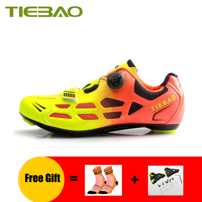 TIEBAO cycling shoes men women self-locking sapatilha ciclismo breathable outdoor sport road bike sneakers riding bicycle shoes