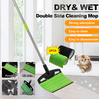 Mop Broom Set Mop Wooden Floor Flat Mops Home Cleaning Tool Household With Reusable Microfiber Pad Lazy Mop Easy Clean