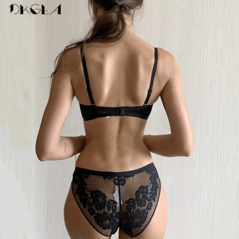 2019 New Bandage Green Lace Bra Set Women Lingerie Embroidery Thick Push Up Brassiere Cotton Underwear Set Sexy Bras Gather 2