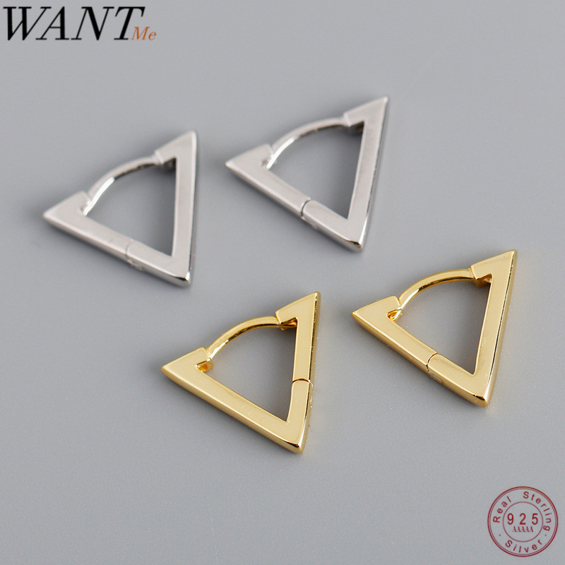 WANTME New Arrival Minimalist Geometric Triangle Stud Earrings for Women 2020 Real 100% 925 Sterling Silver Party Jewelry Gift