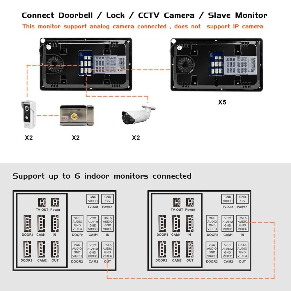 Домофон Проводной Видео дверной телефон с датчиком движения запись для дома HD ИК Видео дверной звонок Поддержка Камера видеонаблюдения и разблокировка - 6