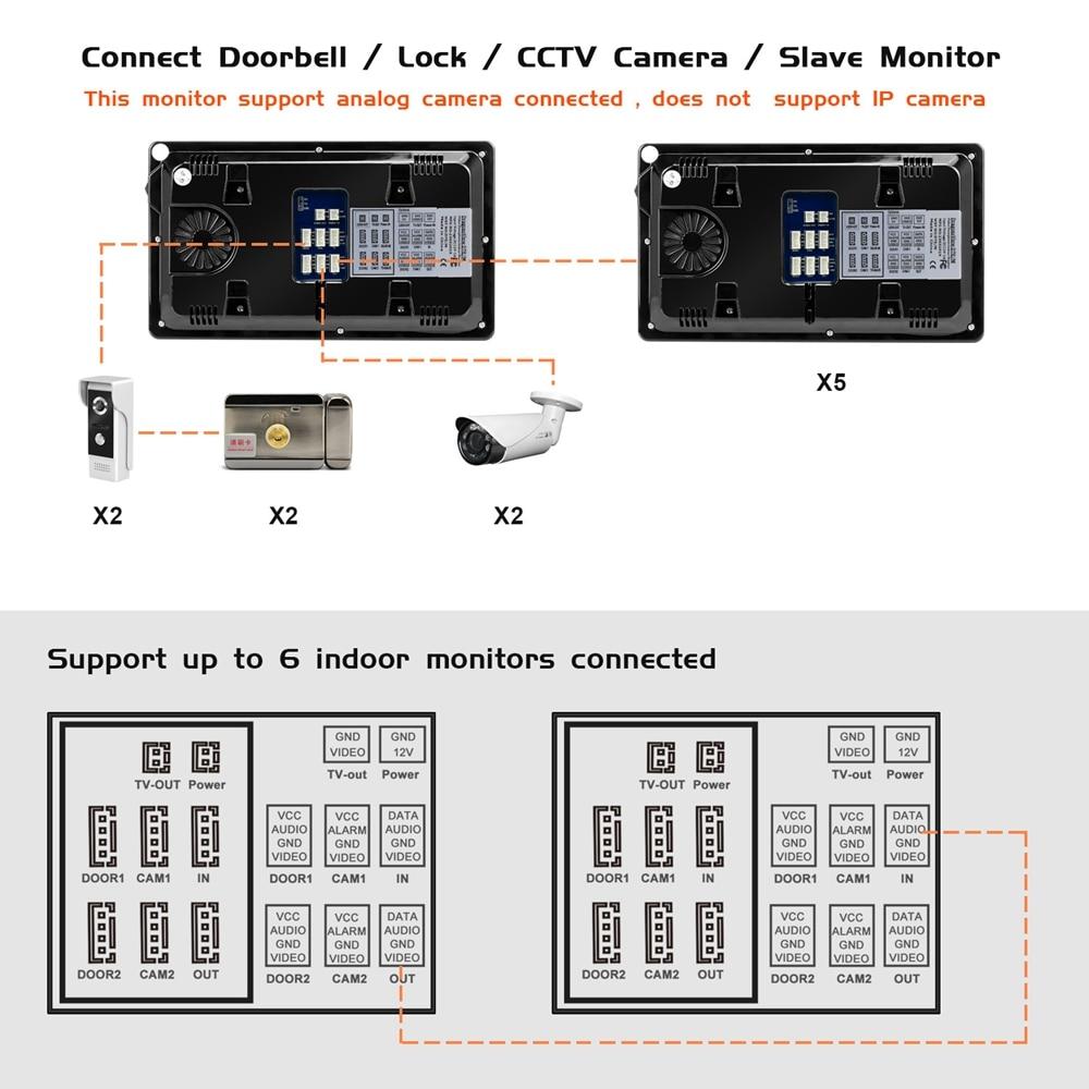 Door Intercom Wired Video Door Phone with Motion Detection Record for Home HD IR Video Doorbell Support CCTV Camera And unlock - 6