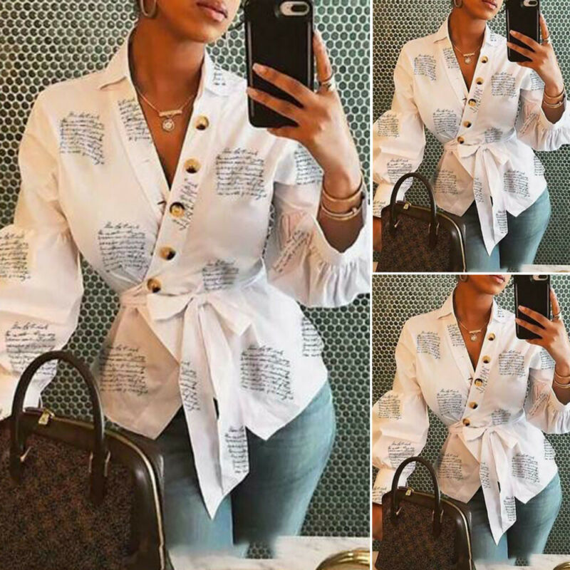 Women's Casual Blouses Shirts V Neck Long Sleeve Classical English alphabet print Blouse Loose Tops Office Ladies Work Shirt image