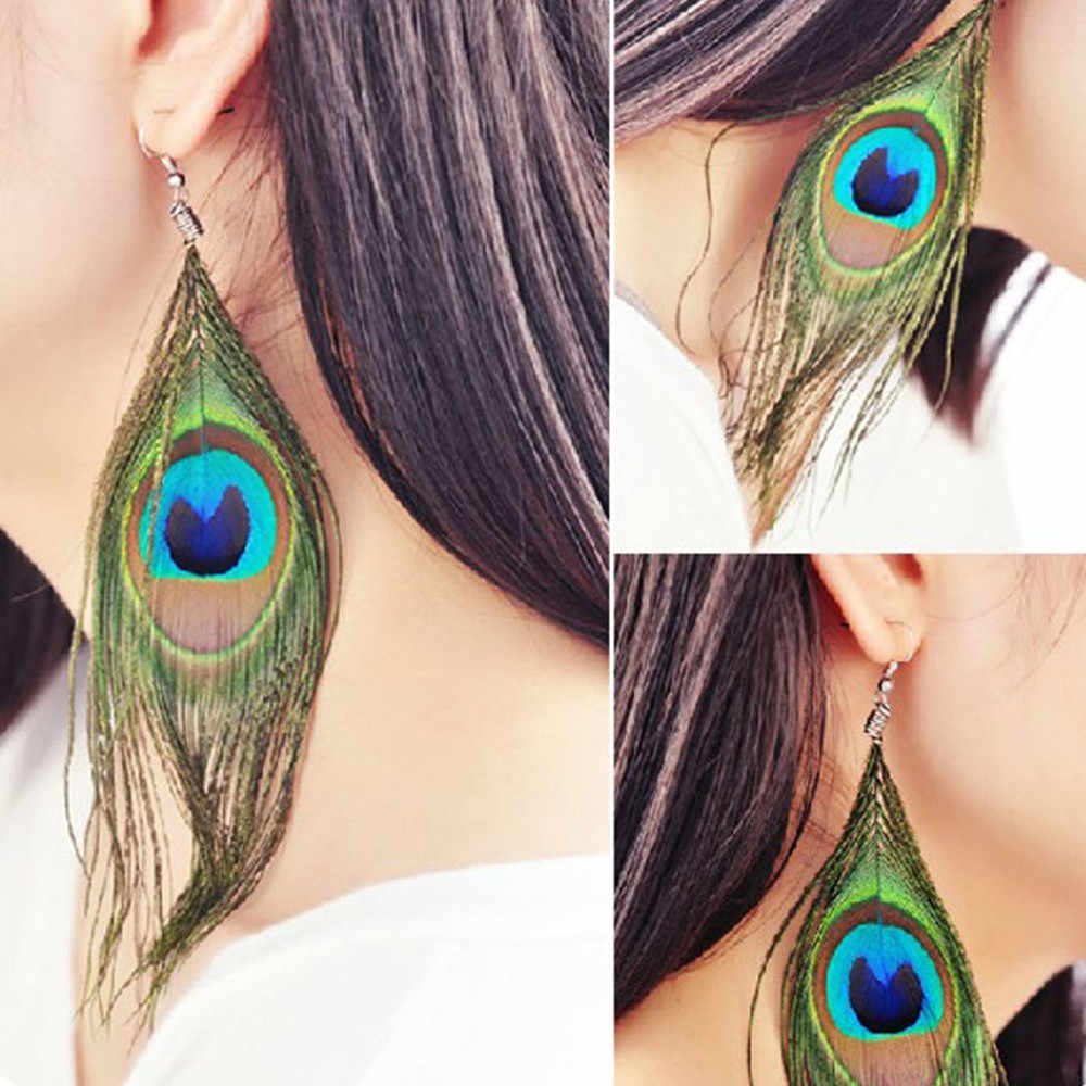 Fashion BOHO Style Peacock Earrings Feather Shiny Silvery Hook Women's Dangle Earrings Eardrop Ornaments Jewelry Oorbellen F99