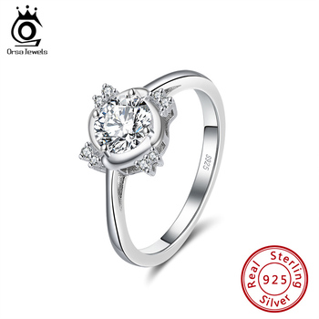 ORSA JEWELS Anniversary Cubic Zirconia Ring 925 Sterling Silver Rings for Women Silver 925 Wedding Engagement Fine Jewelry SR221 moonso a pair luxury genuine 925 sterling silver rings for women wedding engagement jewelry lr236s
