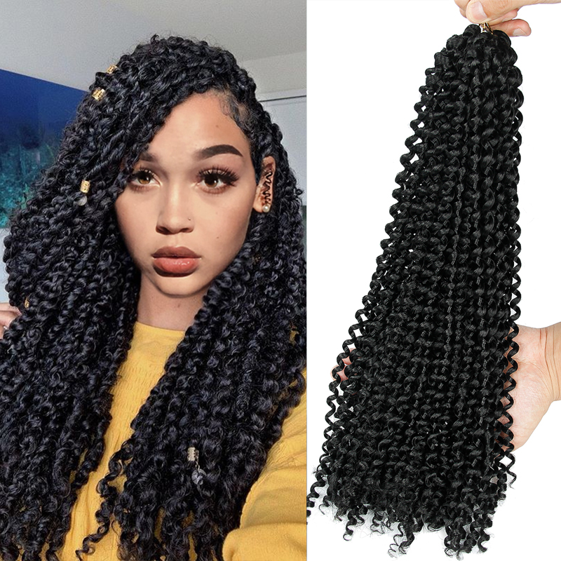 YXCHERISHAIR Water Wave Bohemian Curly Crochet Hair 18inches Braids For Braiding Synthetic Hair Extension Passion Twist