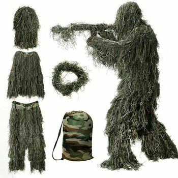 цена Hunting Secretive Woodland Ghillie Suit Aerial Shooting Sniper Green Clothes Adults Camouflage Military Jungle Multicam Clothing онлайн в 2017 году