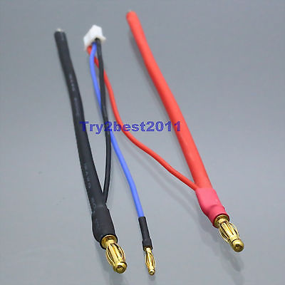 DHL/EMS 50 Sets 4mm Bullet Banana To Bare Leads LiPo Battery Lead Wire & 2mm JST-XH Balance Plug -C1