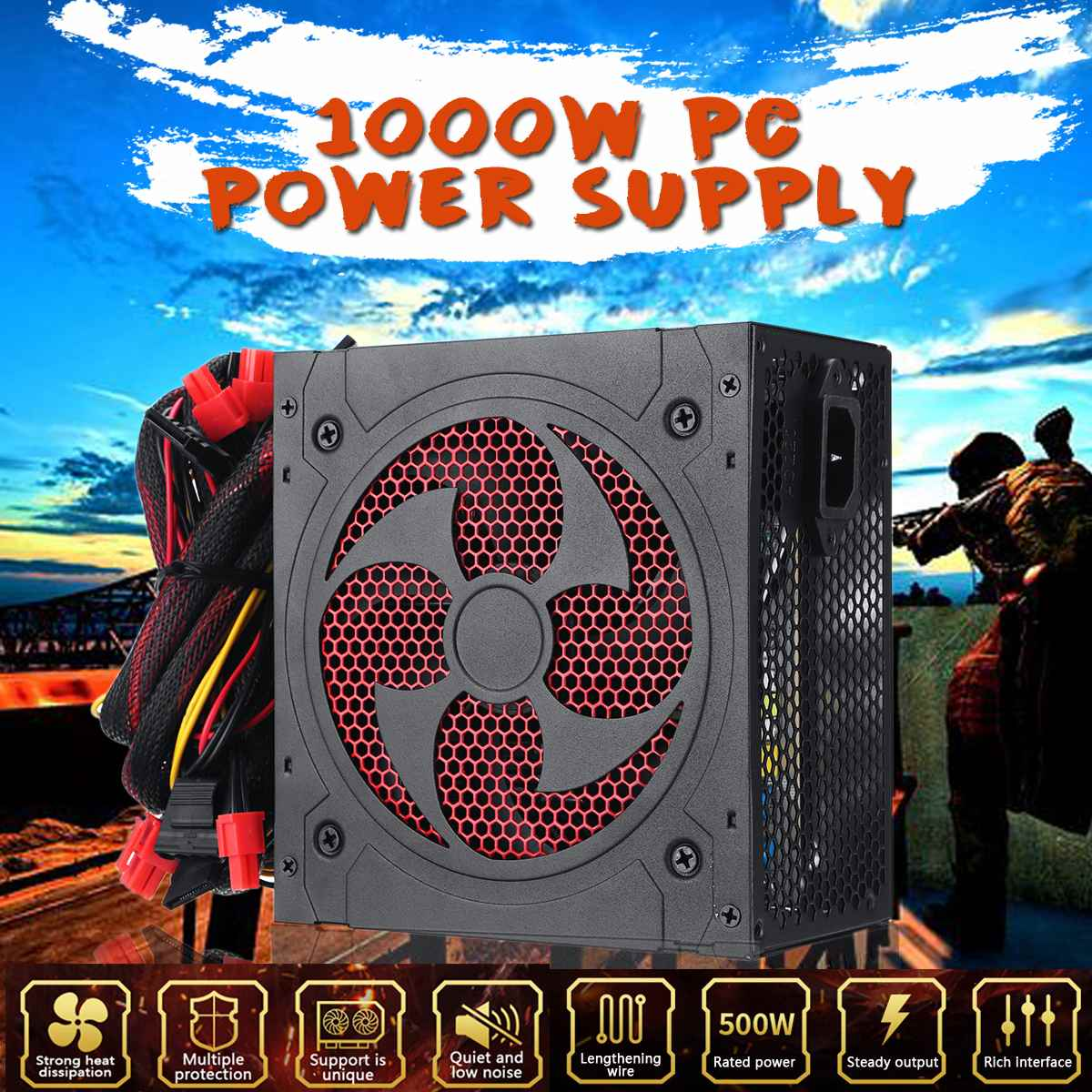 1000W Power Supply PFC Silent Fan ATX 20pin 12V PC Computer SATA Gaming PC Power Supply For Intel AMD Computer