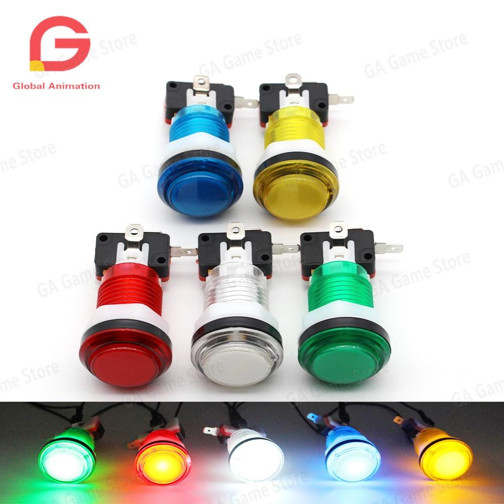 Прозрачная Кнопка 10 шт./лот 28 мм, сверхъяркая Светодиодная лампа 12 В и микропереключатель для аркадных файтингов