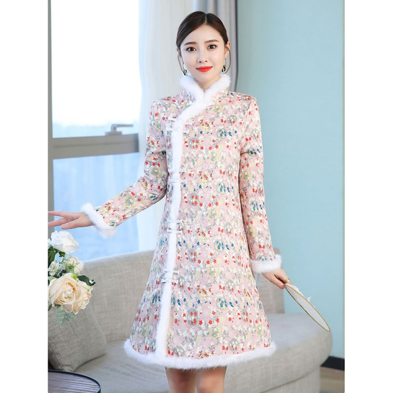Women Floral Printed Classic Cheongsam Elegant Evening Party Dress Traditional Chinese Vestido Autumn Winter Long Sleeve Dress