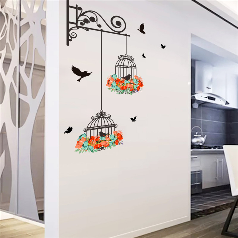 Floral birdcage wall sticker decals flying birds plants living room wallpaper bedroom nursery window decor in Wall Stickers from Home Garden