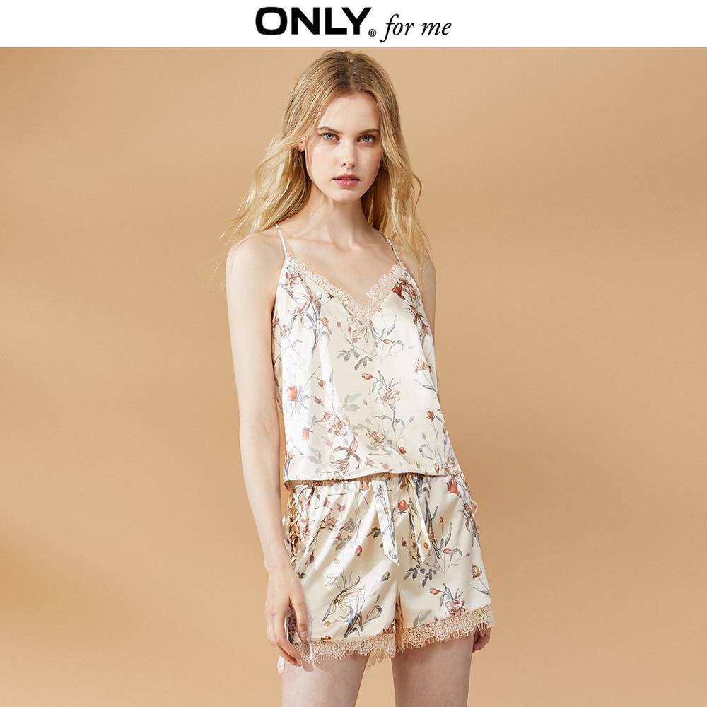 ONLY Women's Autumn Lace Bowtie Lace-up Short Pajama Pants | 119315507