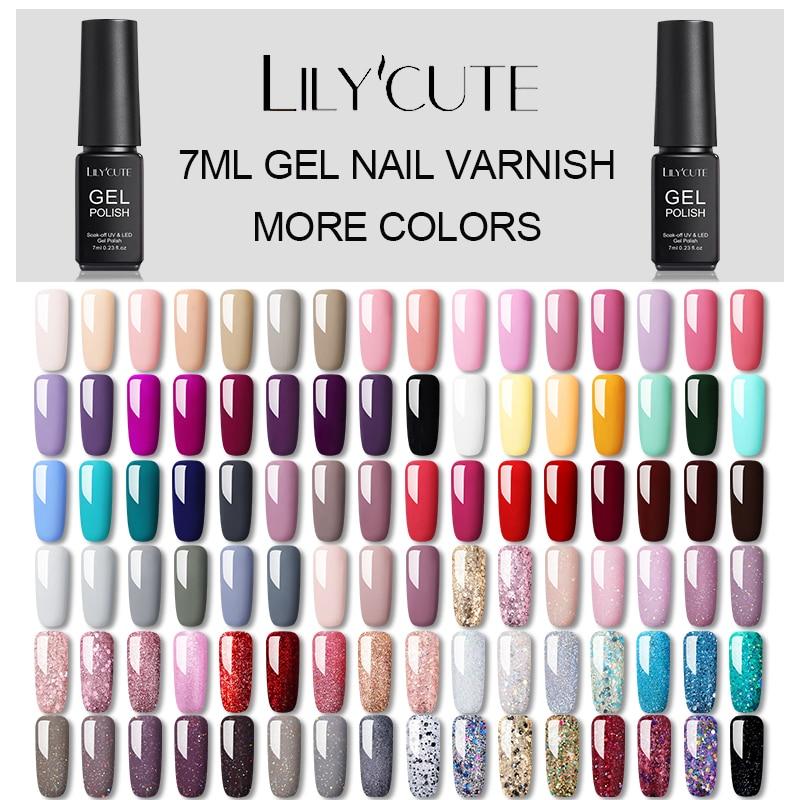 LILYCUTE Hybrid Varnishes Gel Nail Polish Semi Permanent Soak Off UV Gel UV Led Gel Polish  Nail Art Design