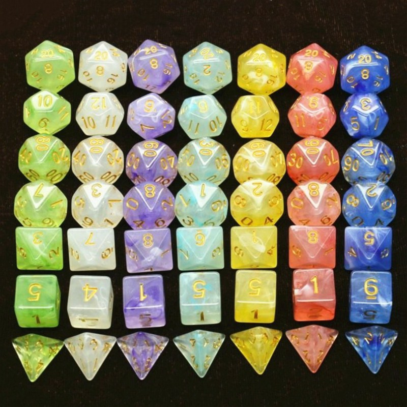 7pcs /Set Multifaceted Dice D&d D4 D6 D8 D10 D% D12 D20 Polyhedral TRPG Games Dice Set For Board Game