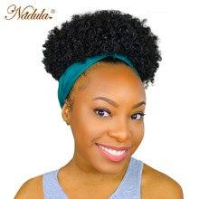 Parrucca per capelli soffici Nadula parrucca per capelli umani parrucca riccia crespa corta per donne nere parrucca avvolgente per capelli ricci crespi turbante collegato