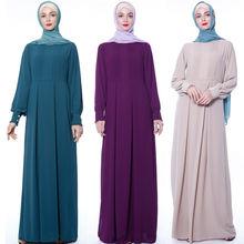 Новое шифоновое мусульманское платье с круглым вырезом элегантное