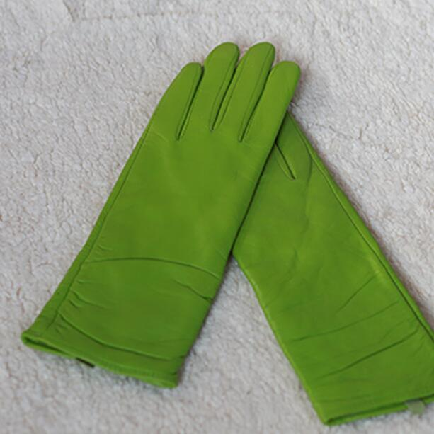 Women's Genuine Leather Green Glove Lady's Fleece Lining Warm Natural Goat Leather Fashion Slim Medium Long Driving Glove R2482