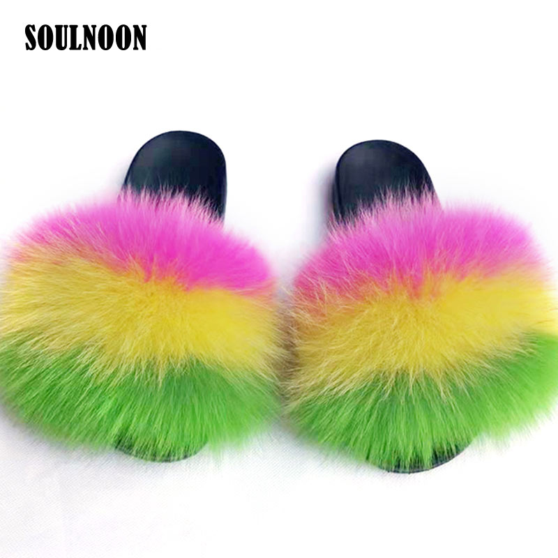 Fluffy Fur Slippers Women Real Fox Fur Slides Woman?s Summer Slippers Flat Furry Home Party Shoes Fashion Casual Fuzzy Plush Fli