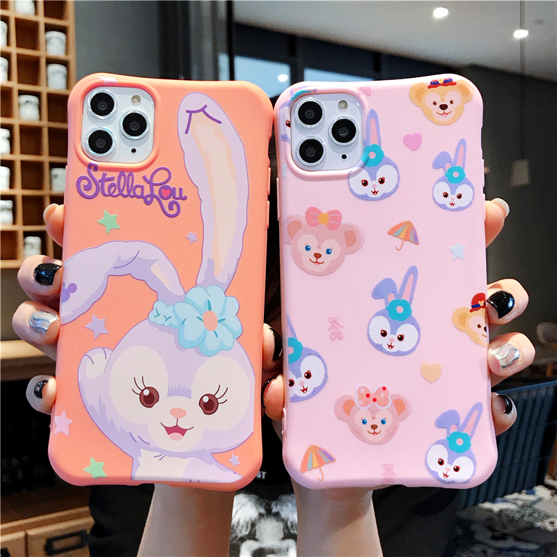 Cute Candy Soft TPU Duffy Bear Stellalou Rabbit Phone Case For Iphone 11 Pro MAX XS XR X 6 6S 7 8 Plus Lovely Cartoon Cover