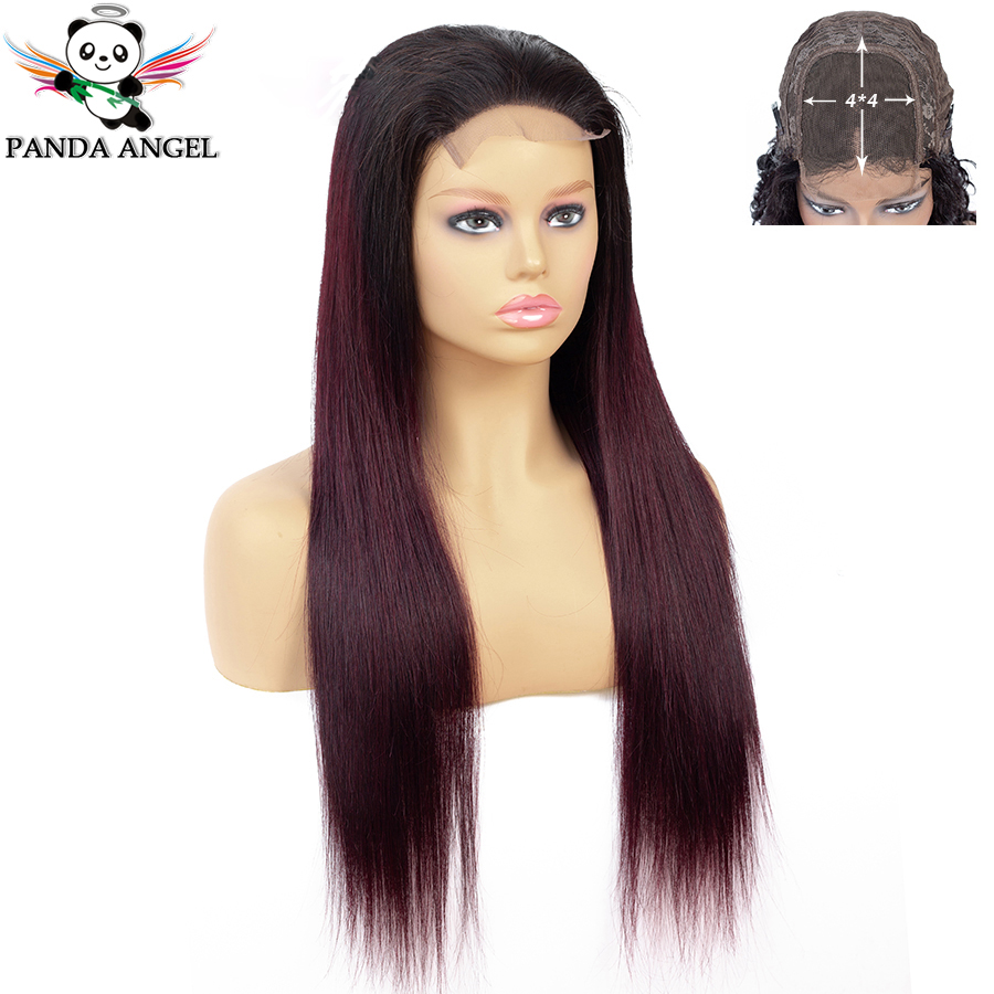 Panda 4*4 1b/99J Straight Lace Closure Human Hair Wigs For Black Women Ombre Lace Closure Wigs Pre Plucked Brazilian Remy Wig