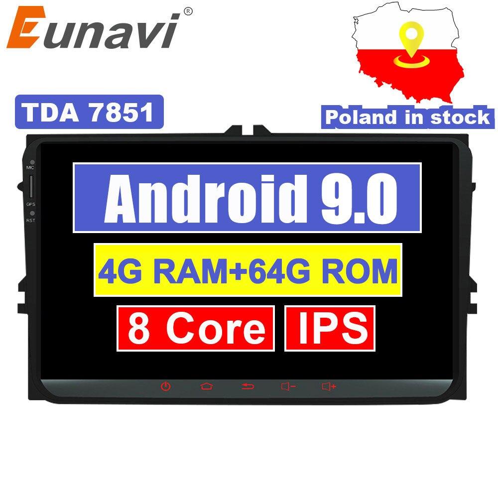 Eunavi 9'' 2 Din Android 9,0 auto radio stereo-player für Volkswagen VW Polo Jetta Tiguan passat b6 cc fabia RNS510 GPS WIFI 4G