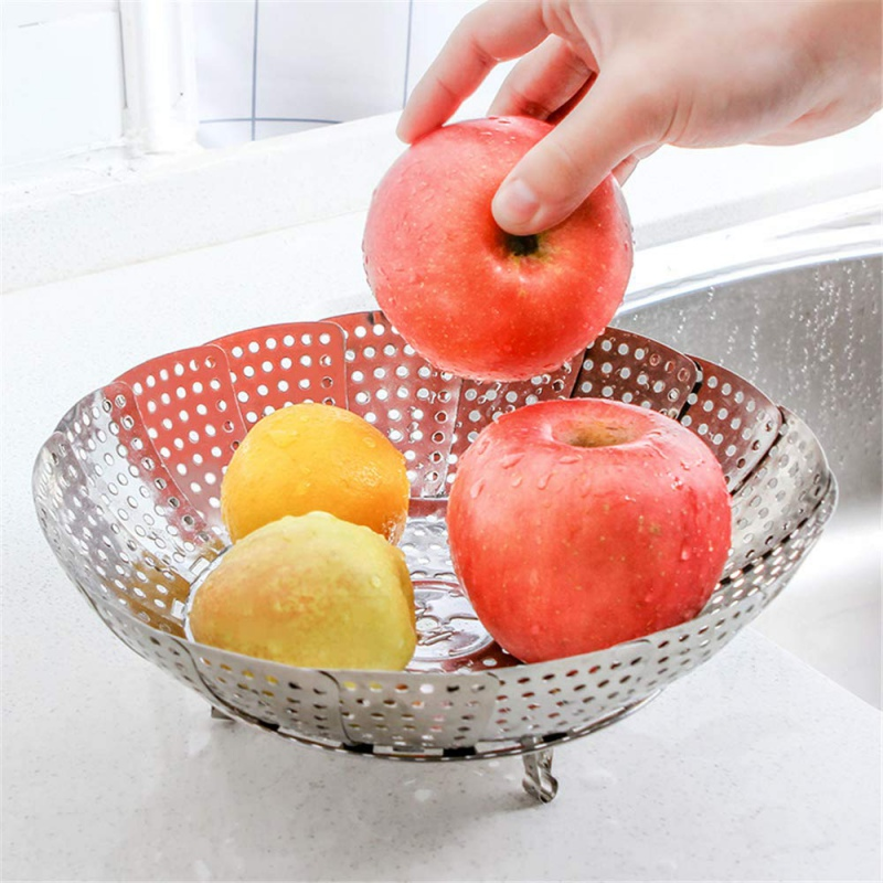 Kitchen Cooking Gadget,Household Collapsible Stainless Steel Food Steamer Basket Fruit Plate Tray Vegetable Strainer