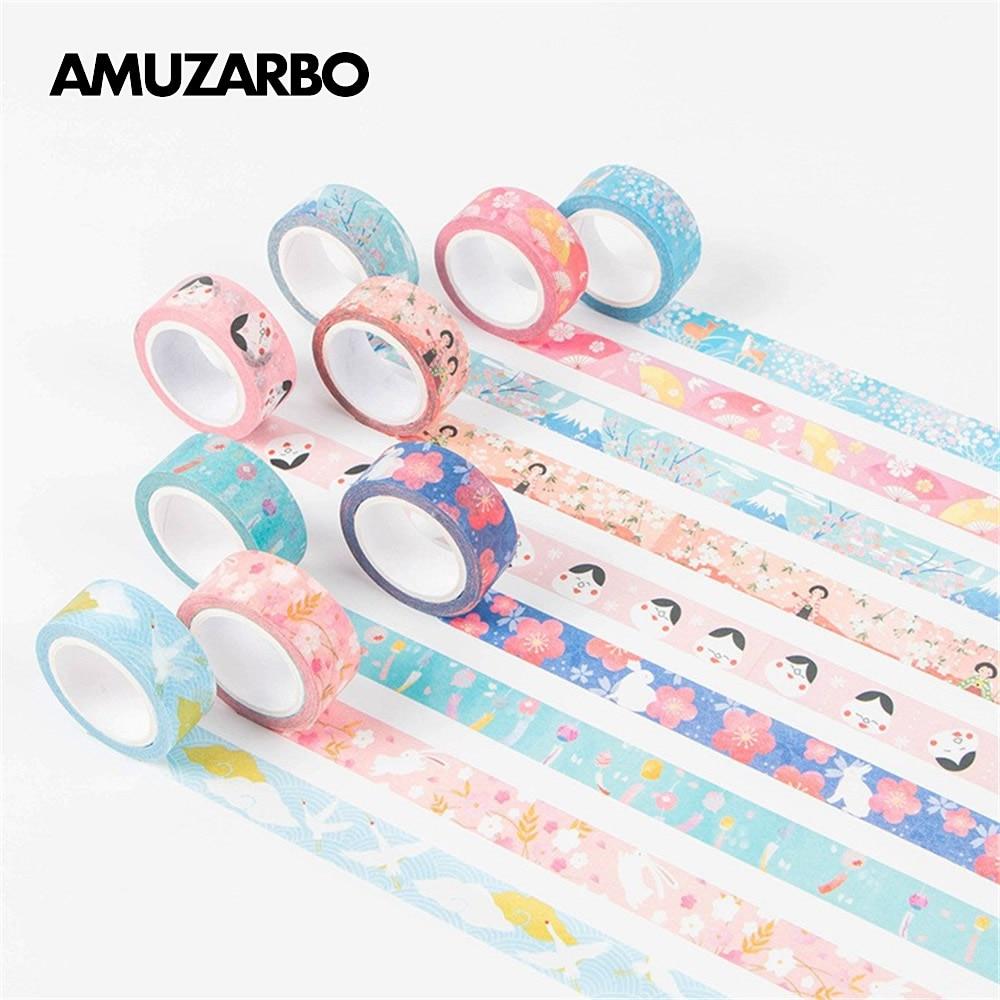 Kawaii Washi Tape Japanese Style Masking Sticker Tape DIY Scrapbooking Handaccount Decorative Sealing Tape Stationery 15mm*7M