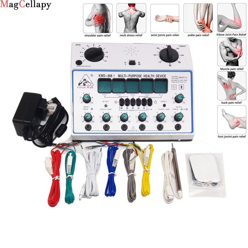 Electric Acupuncture Stimulator Machine, 6 Channel Output Patch Massager Care Kit Digital Electro Therapy Acupuncture Stimulator
