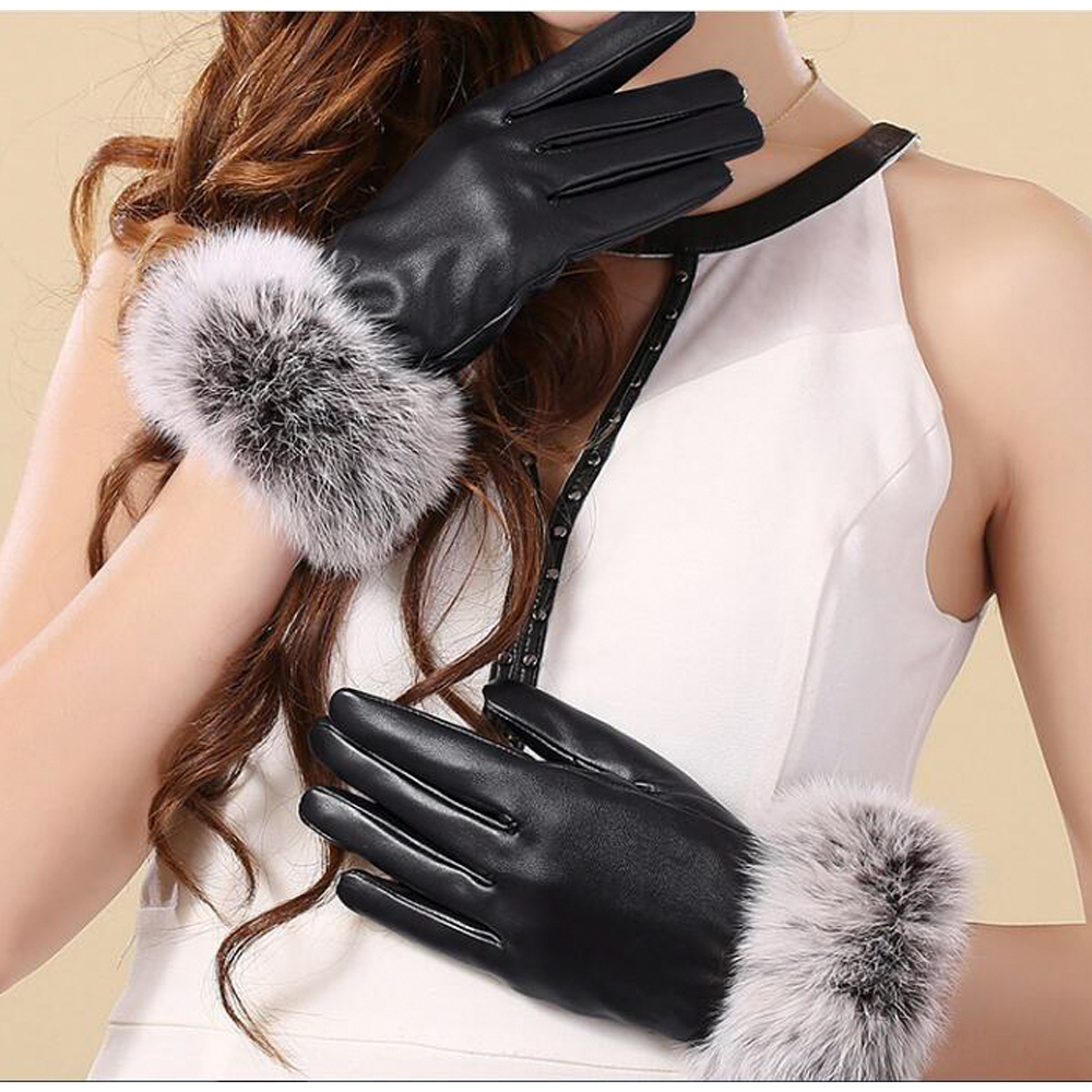 Women's Winter Gloves Cashmere Thicked Warm Waterproof Outdoor Pu Touch Screen Gloves Driving Fur Fashion Female Glove In Winter