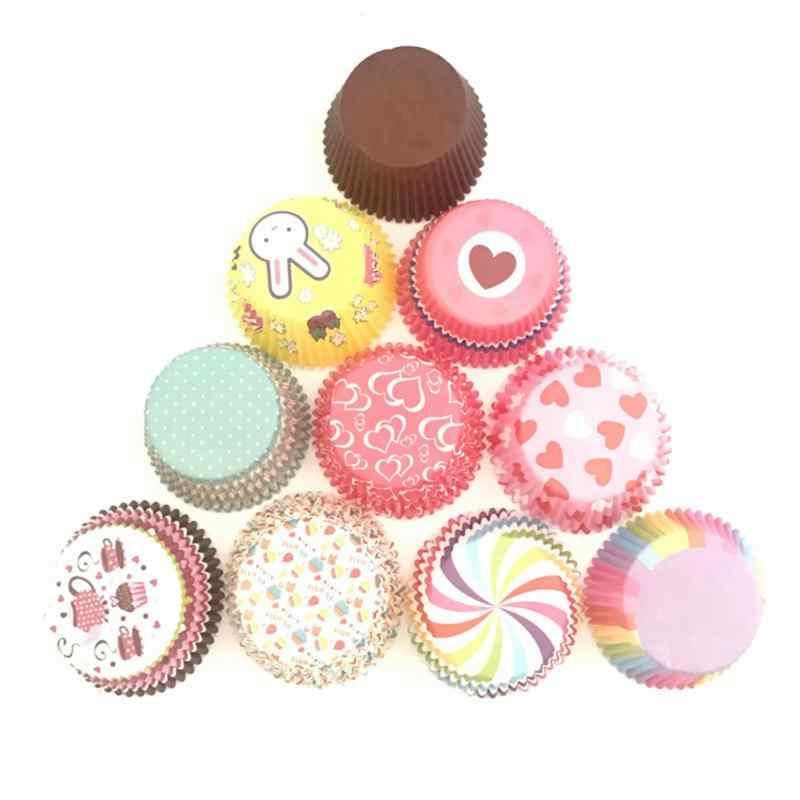 100 Pcs/Set Farbe Druck Muffin Cupcake Papier Tassen Cupcake Liner Backen Box Tasse Fall Party Tablett Kuchen Dekorieren werkzeuge Backformen