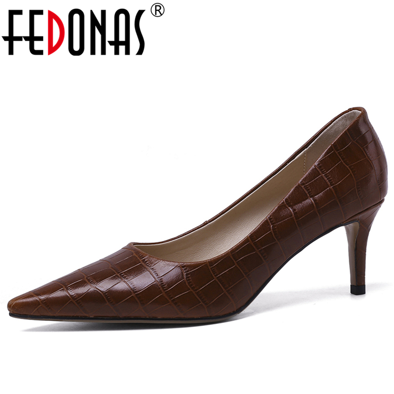 FEDONAS Women Cow Leather Pumps Stone Pattern Elegant Fashion Concise Elegant Wedding Casual New Pointed Toe Shallow Shoes Woman