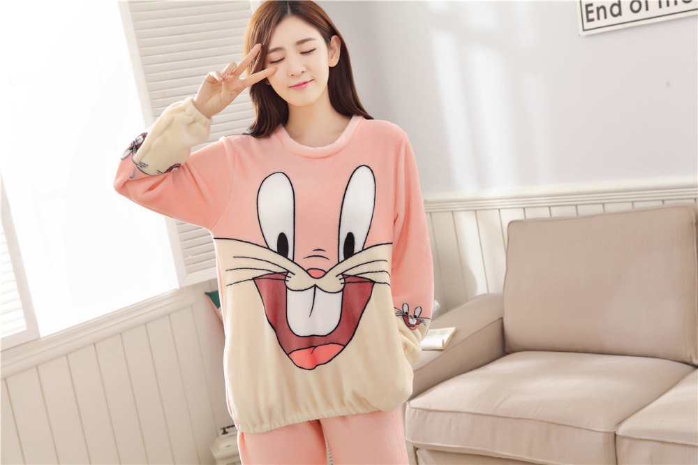 Women Pajamas Set For Autumn cute cartoon pink Women Clothes Sleepwear Nightgown For Women Long Sleeve And Pants Hot Sale pijama 57