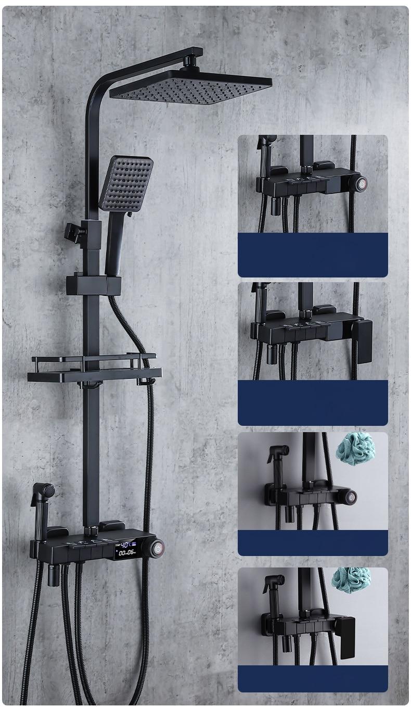 H41dc572afb9c45eaad554479d7f56f90h Piano Digital Bathroom Shower Set SDSN 12 Inch Rainfall Shower Head Solid Brass Bathroom Faucets Matte Black Thermostatic Shower