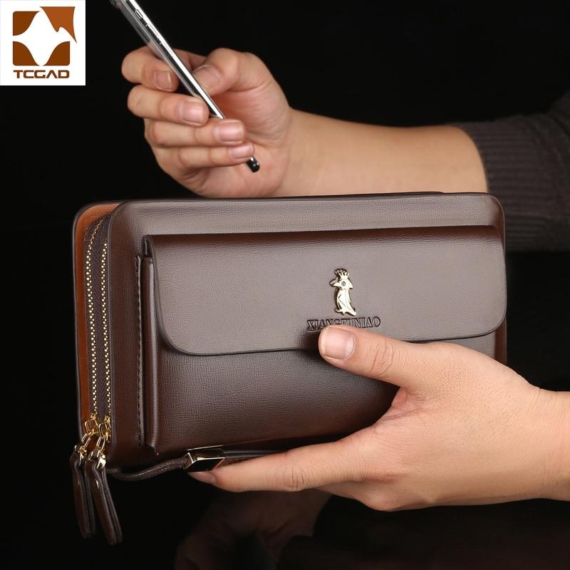Double Zipper Men's Wallet Retro Luxury Clutch Bag Leather Wallet Organizer Big Capacity Passport Cover Male Portefeuille Homme