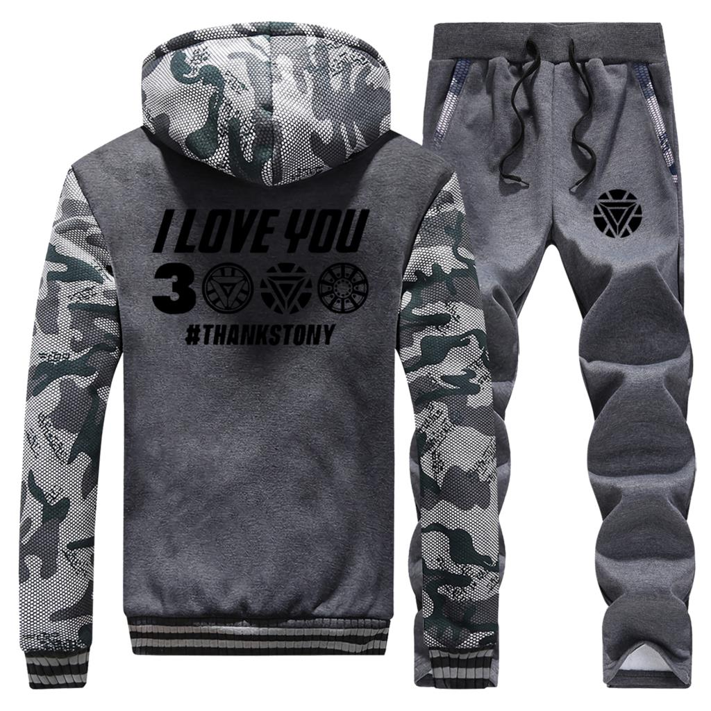 2019 Winter Hoodies Camouflage Mens The Avengers 4 Iron Man I Love You 3000 Sportswear Coat Thick Suit Jackets+Pants 2 Piece Set