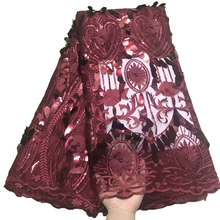 3d flowers velvet lace embroidered beaded french tulle laces high quality wine red fabric with sequins evening dresses materials