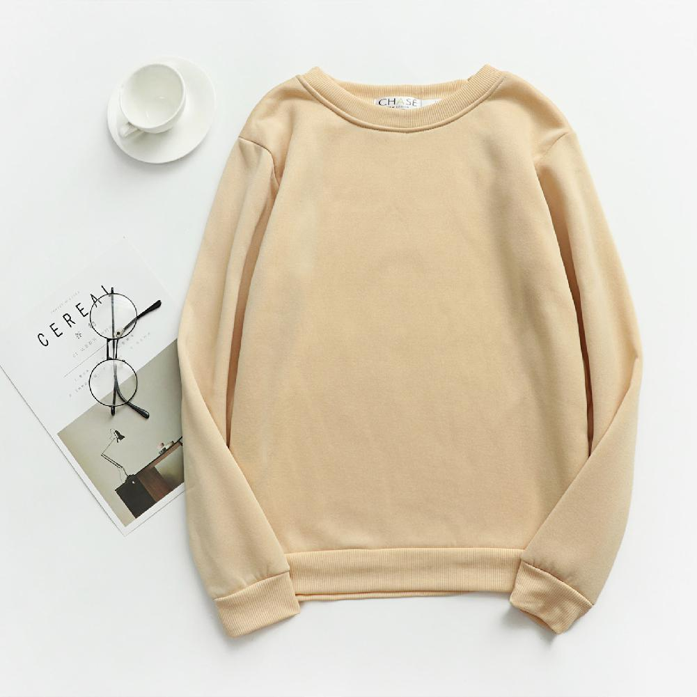 MISSKY Boy Girl Thicken Sweatshirt Streetwear Crew Neck Solid Color Autumn Winter Loose Student Team Pullover Female Tops