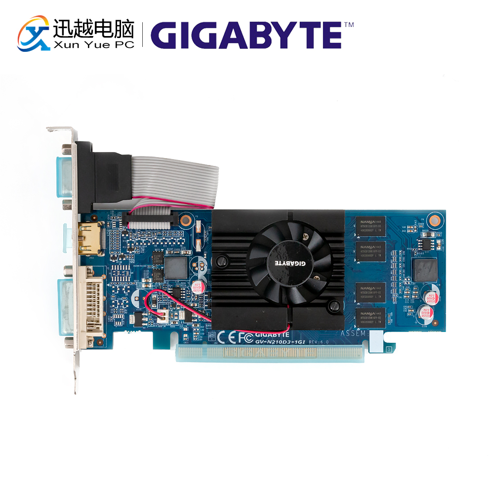 Gigabyte GV-N210D3-1GI Graphics Cards 64 Bit G 210 1G GDDR3 HDMI DVI VGA For Nvidia Geforce G210 Original Used Video Card