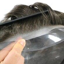 100% парик из человеческих волос для Для мужчин парики прозрачная искусственная кожа ПУ кожи база 8x10 Кепки Для мужчин s кусок волос заменить Д...