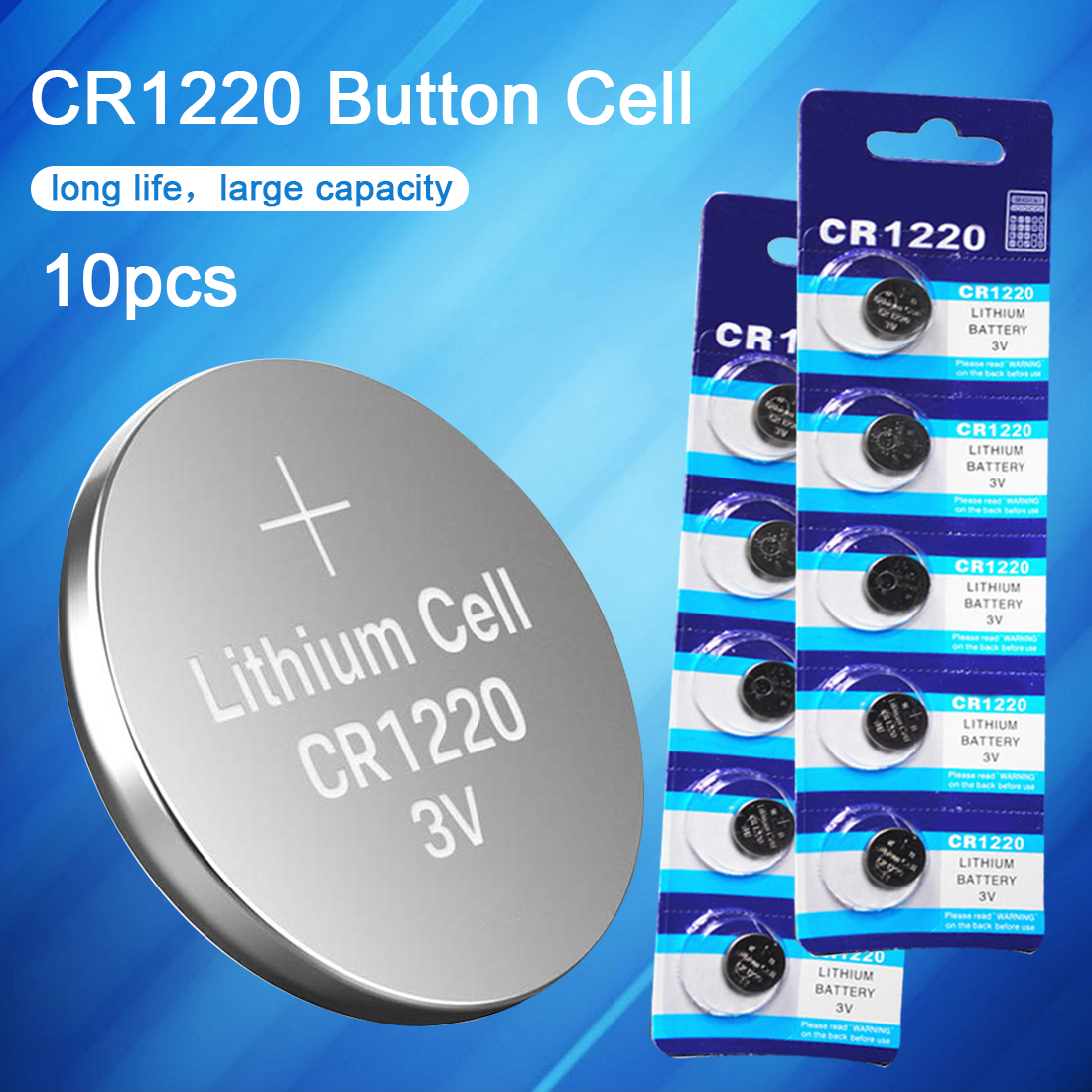 10PCS CR1220 3.0V Watch Battery Button Battery DL1220 BR1220 LM1220 Coin Cell Lithium Batteries for Toy Calculator Clock Watch