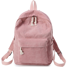Miyahouse Preppy Style Soft Fabric Backpack Female Corduroy Design School For Teenage Girls Striped Women-7
