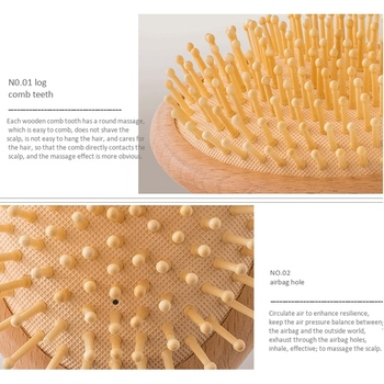 Wooden Paddle Hair Brush, Bamboo Bristles Detangling Hairbrush For Women Men and Kids 3 In 6