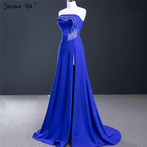 Image 3 - Royal Blue Srtapless Sexy A Line Evening Dresses 2020 High end Satin Beading Sleeveless Formal Dress Serene Hill HM67087
