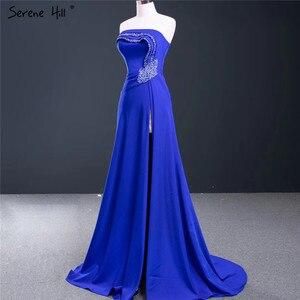 Image 3 - Royal Blue Srtapless Sexy A lijn Avondjurken 2020 High End Satijnen Kralen Mouwloze Formele Jurk Serene Hill HM67087
