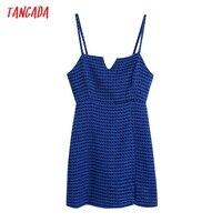 Tangada Women Spaghetti Strap Blue Texture Tweed Slim Mini Dress Female Chic Back Zipper Hem Split Party Dress BE63 1