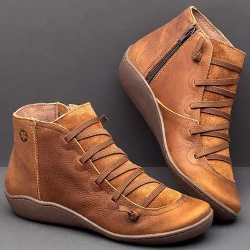 Women PU Leather Ankle Boots Women Fall Winter Cross Gladiator Shoe Vintage Women Punk Boots Flat Ladies Shoes Woman Botas mujer