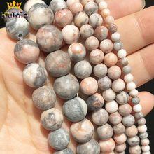Perles rondes en jaspe zèbre rose naturel, pour la fabrication de bijoux, bricolage, 4 6 8 10 12mm, perles en pierre ample, accessoires de Bracelet 15''